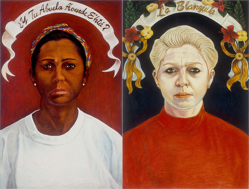 Bibiana Suárez, Y Tu abuela a'onde ehtá/ What Color is Your Grandmother,1991 (Right) La Blanquita/The White One (left), 1991-1992. Pastel on paper, 84 x 60 in. Courtesy of the artist. ©Bibiana Suárez