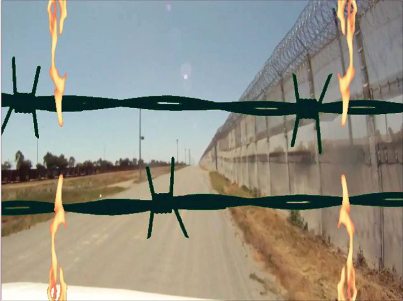 Burning Border Wall