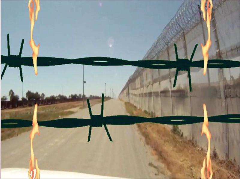 Burning Border Wall