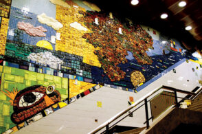 Juan Angel Chávez and Corinne D. Peterson, Hopes and Dreams, 2001. Glass ceramic mosaic, CTA Roosevelt Station, CTA Arts in Transit Program.  Photo courtesy of the Chicago Transit Authority CTA and the artist. ©Juan Angel Chávez.