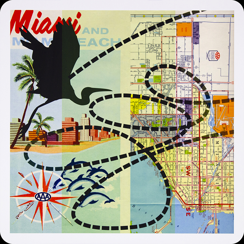 Bibiana Suárez, Aves raras (cubanos) no. 2 / Strange Birds (cubanos) no. 2, 2005-2011. Archival inkjet print on aluminum panel, (map courtesy of the University of Chicago's Special Collections), 24 x 24 in. each ( 60.9 x 60.9 cm. each).  Courtesy of the artist. ©Bibiana Suárez