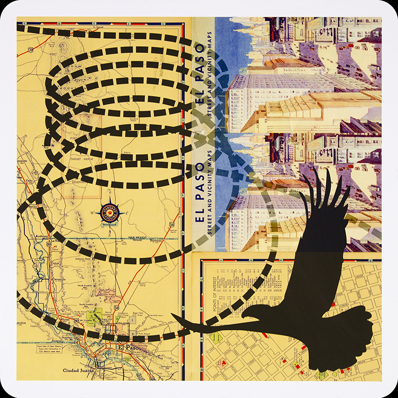 Bibiana Suárez, Aves raras (mexicanos) no. 2 / Strange Birds (Mexicans) no. 2, 2005-2011. Archival inkjet print on aluminum panel, (map courtesy of the University of Chicago's Special Collections), 24 x 24 in. each (60.9 x 60.9 cm. each).  Courtesy of the artist. ©Bibiana Suárez